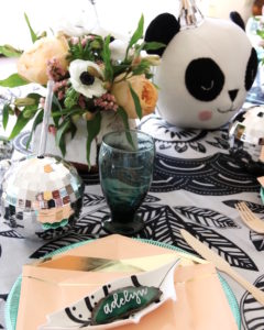 "Place setting from a ""Pandamonium"" Panda Disco Birthday Party on Kara's Party Ideas | KarasPartyIdeas.com (14)"