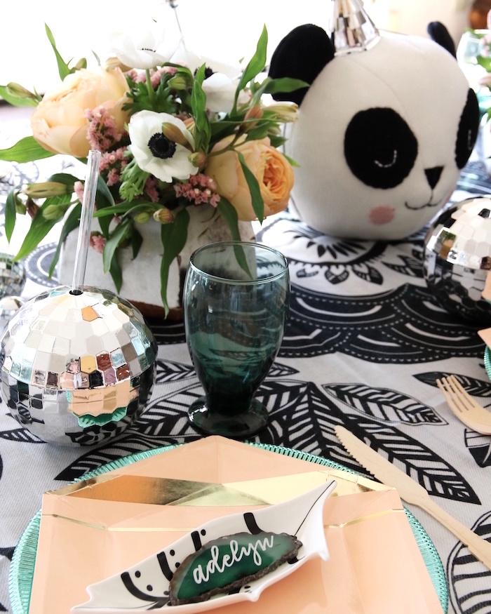 "Place setting from a ""Pandamonium"" Panda Disco Birthday Party on Kara's Party Ideas   KarasPartyIdeas.com (14)"