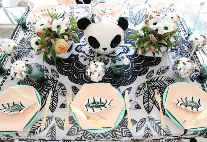 "Guest tabletop from a ""Pandamonium"" Panda Disco Birthday Party on Kara's Party Ideas   KarasPartyIdeas.com (12)"