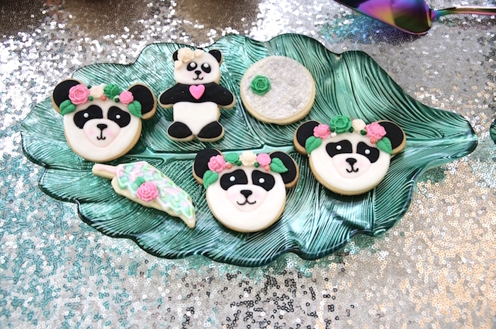 "Panda Bear Cookies from a ""Pandamonium"" Panda Disco Birthday Party on Kara's Party Ideas 