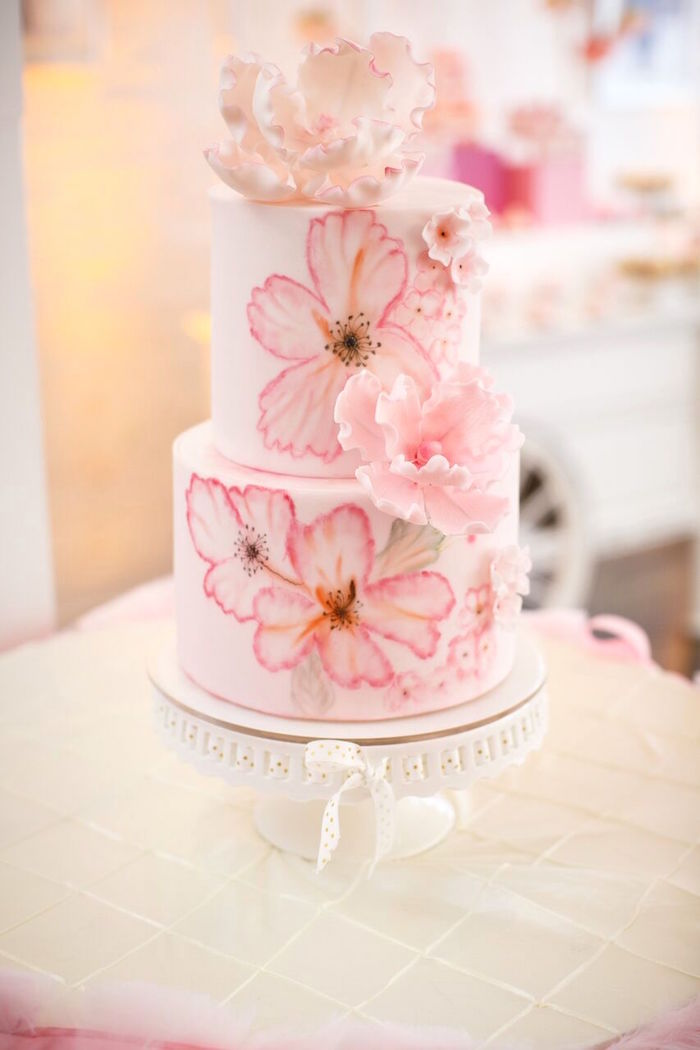 "Pink and white flower cake from a ""Pretty in Pink"" Baby Shower on Kara's Party Ideas 