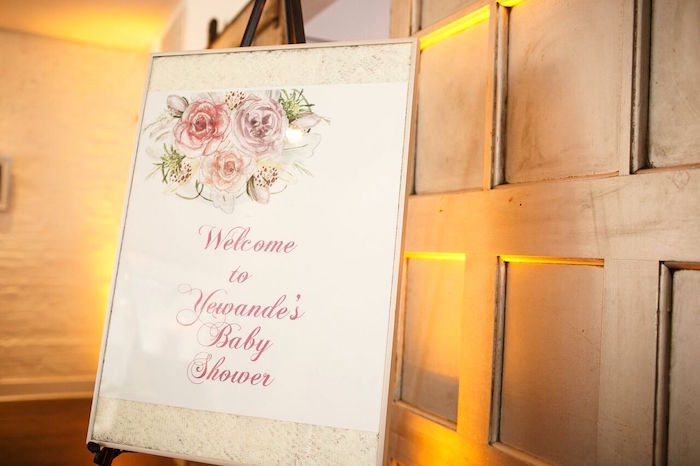 "Welcome sign from a ""Pretty in Pink"" Baby Shower on Kara's Party Ideas 