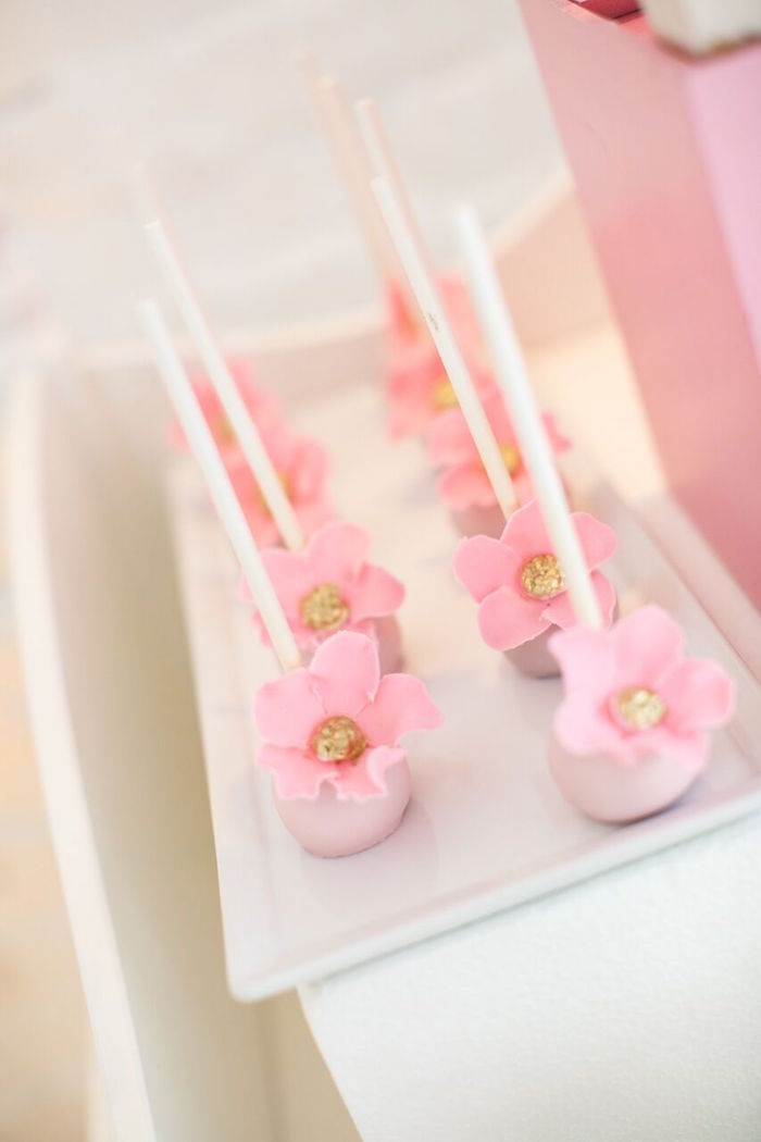 "Floral cake pops from a ""Pretty in Pink"" Baby Shower on Kara's Party Ideas 