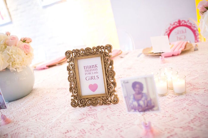"Decor + party signage from a ""Pretty in Pink"" Baby Shower on Kara's Party Ideas 