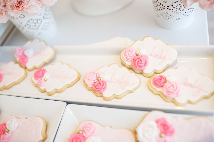 "Pink & white sugar cookies from a ""Pretty in Pink"" Baby Shower on Kara's Party Ideas 
