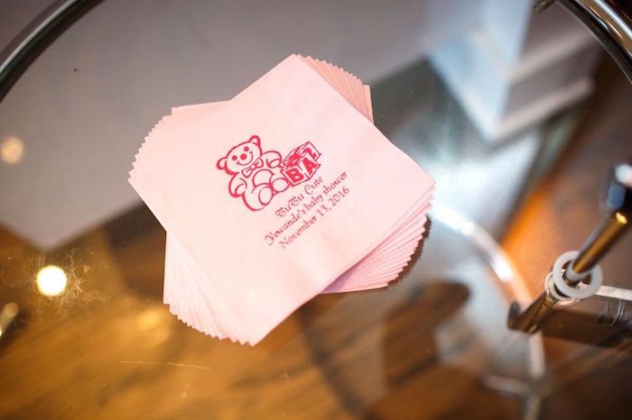 "custom napkins from a ""Pretty in Pink"" Baby Shower on Kara's Party Ideas 