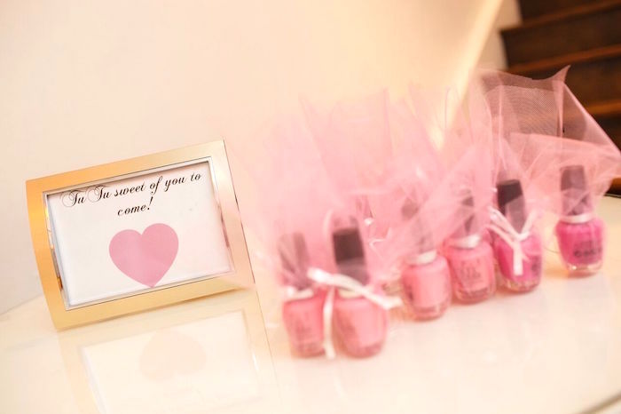 "Nail polish favors from a ""Pretty in Pink"" Baby Shower on Kara's Party Ideas 