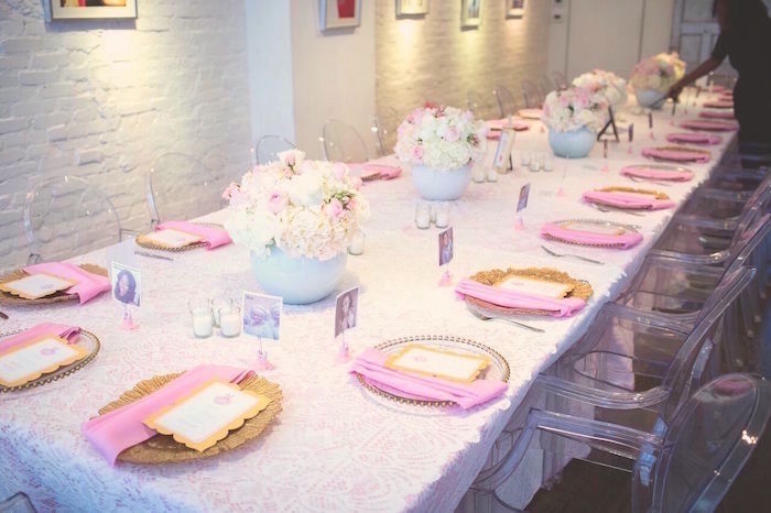 "Guest tablescape from a ""Pretty in Pink"" Baby Shower on Kara's Party Ideas 