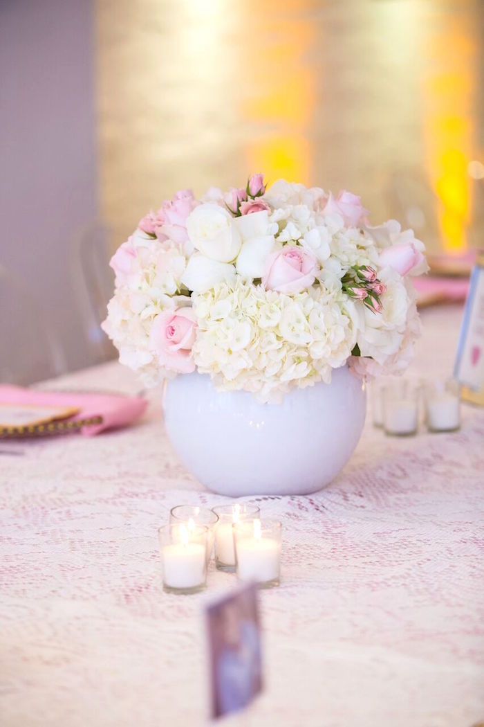 "Floral arrangement from a ""Pretty in Pink"" Baby Shower on Kara's Party Ideas 