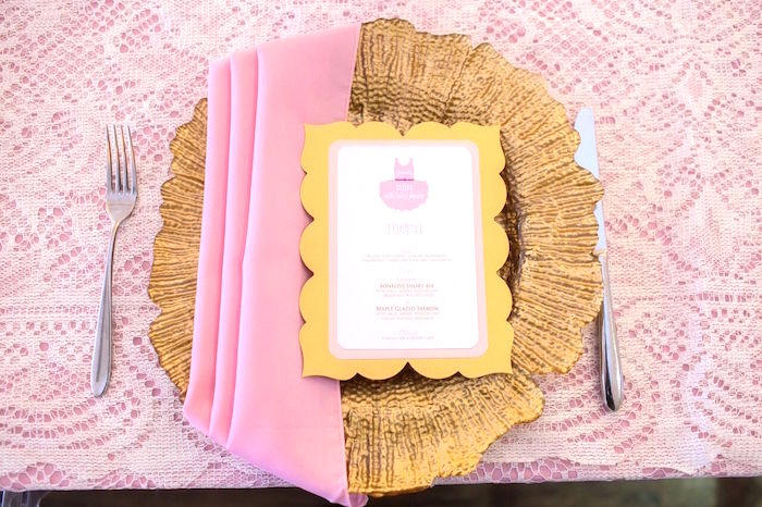 "Pink + gold place setting from a ""Pretty in Pink"" Baby Shower on Kara's Party Ideas 