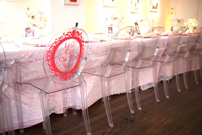 "Chair decal from a ""Pretty in Pink"" Baby Shower on Kara's Party Ideas 