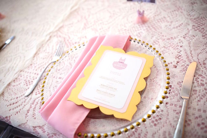 "Studded plate place setting from a ""Pretty in Pink"" Baby Shower on Kara's Party Ideas 