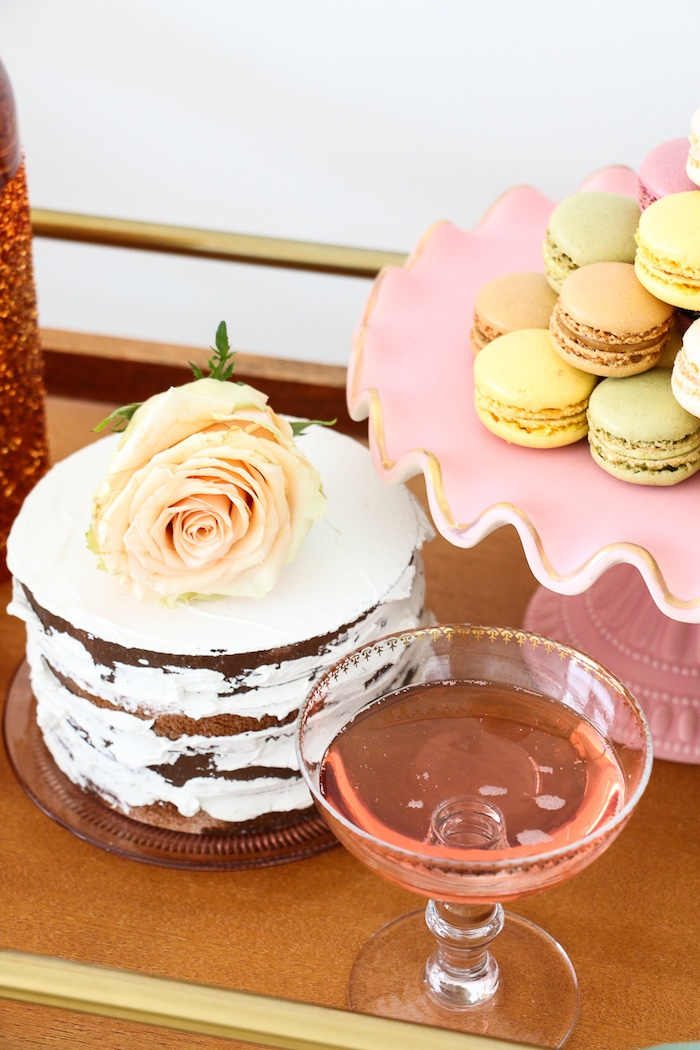 """Chocolate semi-naked cake + macarons from a """"Rosé All Day"""" Bridal Shower on Kara's Party Ideas 