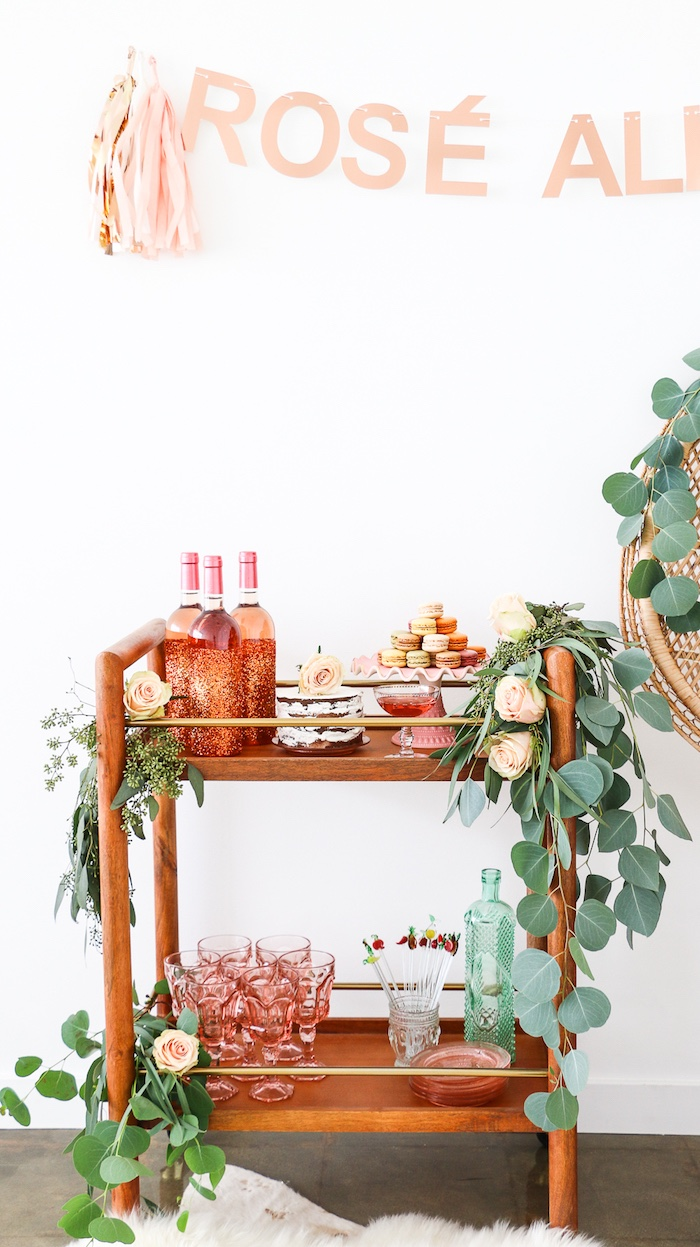 """Dessert & beverage stand from a """"Rosé All Day"""" Bridal Shower on Kara's Party Ideas 