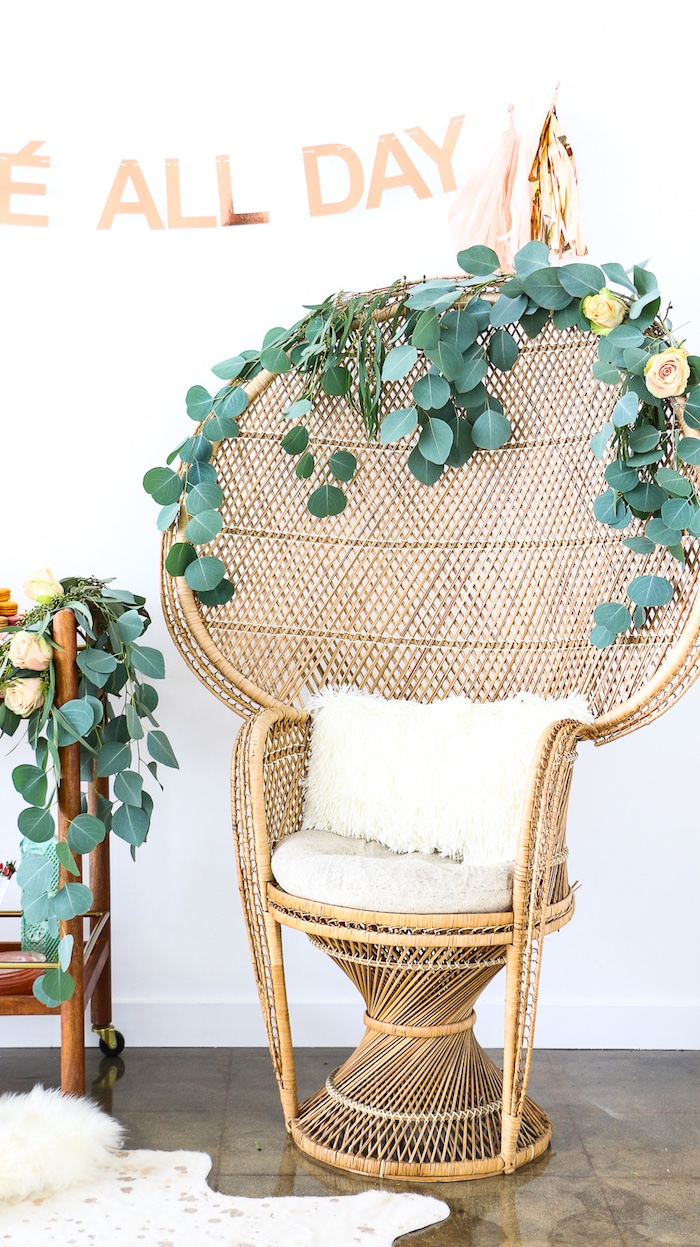 """Bamboo chair with floral bunting from a """"Rosé All Day"""" Bridal Shower on Kara's Party Ideas 