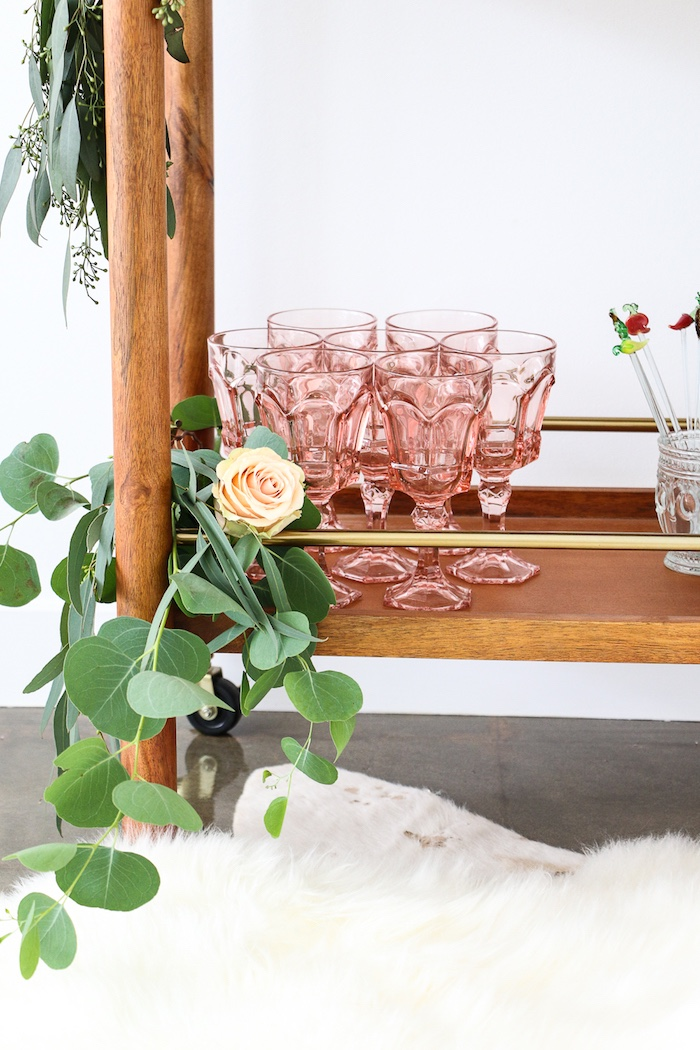 """Rose colored drink goblets from a """"Rosé All Day"""" Bridal Shower on Kara's Party Ideas 
