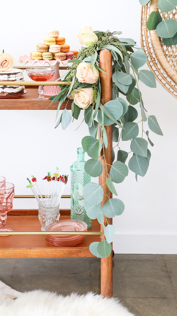 """Floral garland from a """"Rosé All Day"""" Bridal Shower on Kara's Party Ideas 