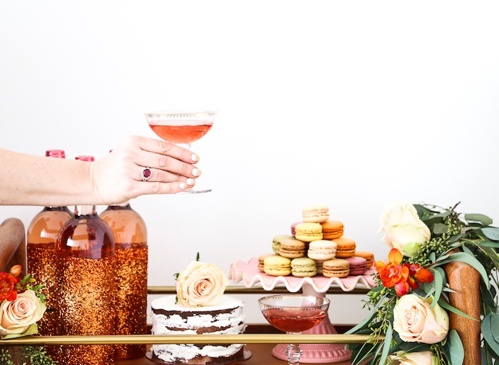"Dessert buffet from a ""Rosé All Day"" Bridal Shower on Kara's Party Ideas | KarasPartyIdeas.com (7)"