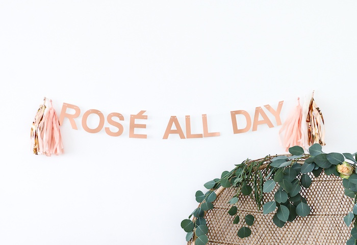 """""""Rose All Day"""" letter tassel banner from a """"Rosé All Day"""" Bridal Shower on Kara's Party Ideas 