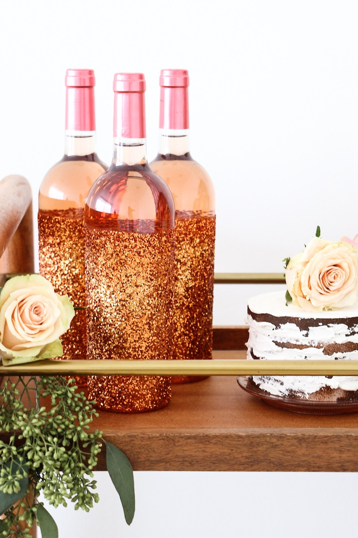 """Rose gold beverage bottles from a """"Rosé All Day"""" Bridal Shower on Kara's Party Ideas 