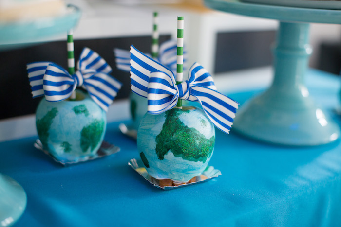 Globe gourmet apples from a 365 Days on Earth First Birthday Party on Kara's Party Ideas | KarasPartyIdeas.com (26)
