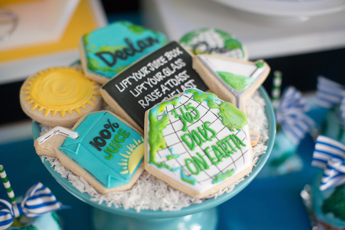 Earth themed sugar cookies from a 365 Days on Earth First Birthday Party on Kara's Party Ideas | KarasPartyIdeas.com (25)