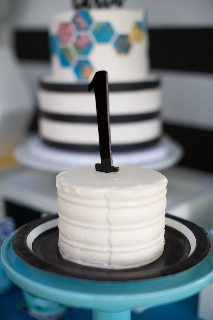Smash cake from a 365 Days on Earth First Birthday Party on Kara's Party Ideas | KarasPartyIdeas.com (24)