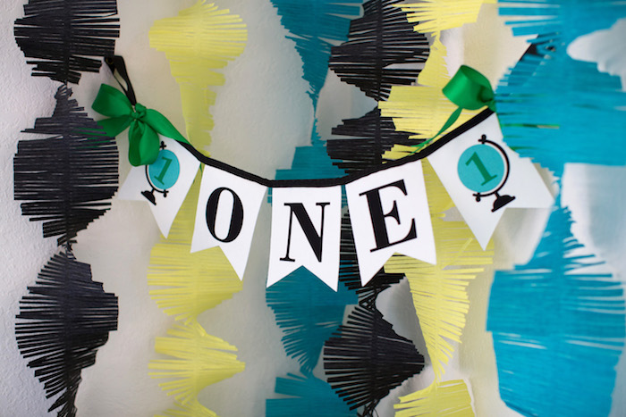 "Globe ""One"" banner from a 365 Days on Earth First Birthday Party on Kara's Party Ideas 