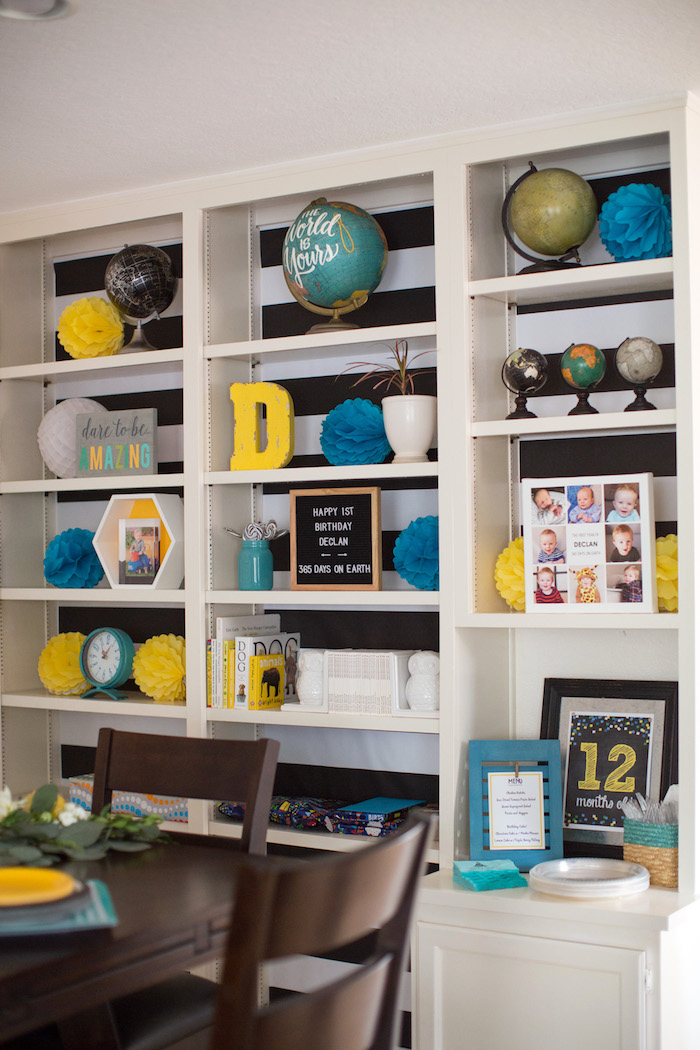 Party decor + shelving from a 365 Days on Earth First Birthday Party on Kara's Party Ideas | KarasPartyIdeas.com (11)