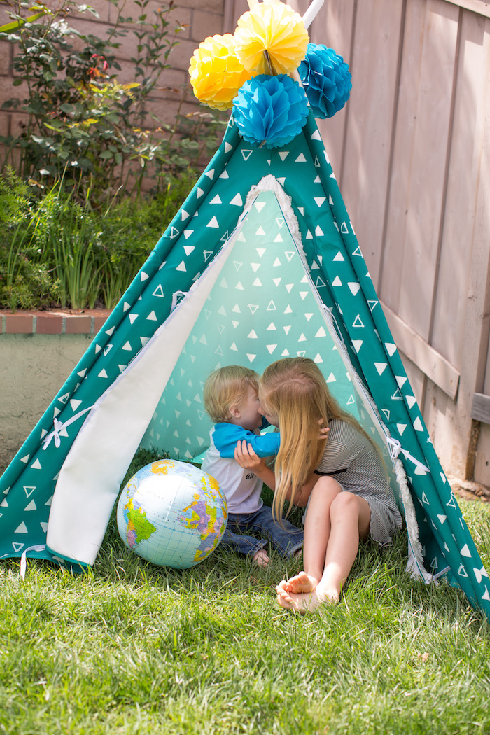 Teepee tent from a 365 Days on Earth First Birthday Party on Kara's Party Ideas | KarasPartyIdeas.com (9)