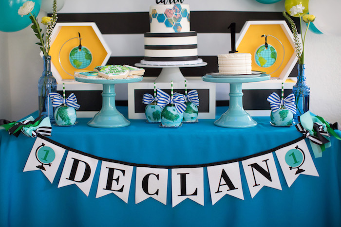 Dessert table spread from a 365 Days on Earth First Birthday Party on Kara's Party Ideas | KarasPartyIdeas.com (31)