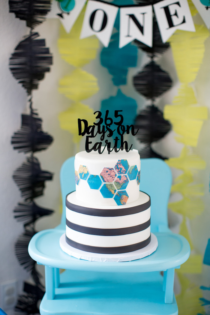 Earth-inspired cake from a 365 Days on Earth First Birthday Party on Kara's Party Ideas | KarasPartyIdeas.com (29)