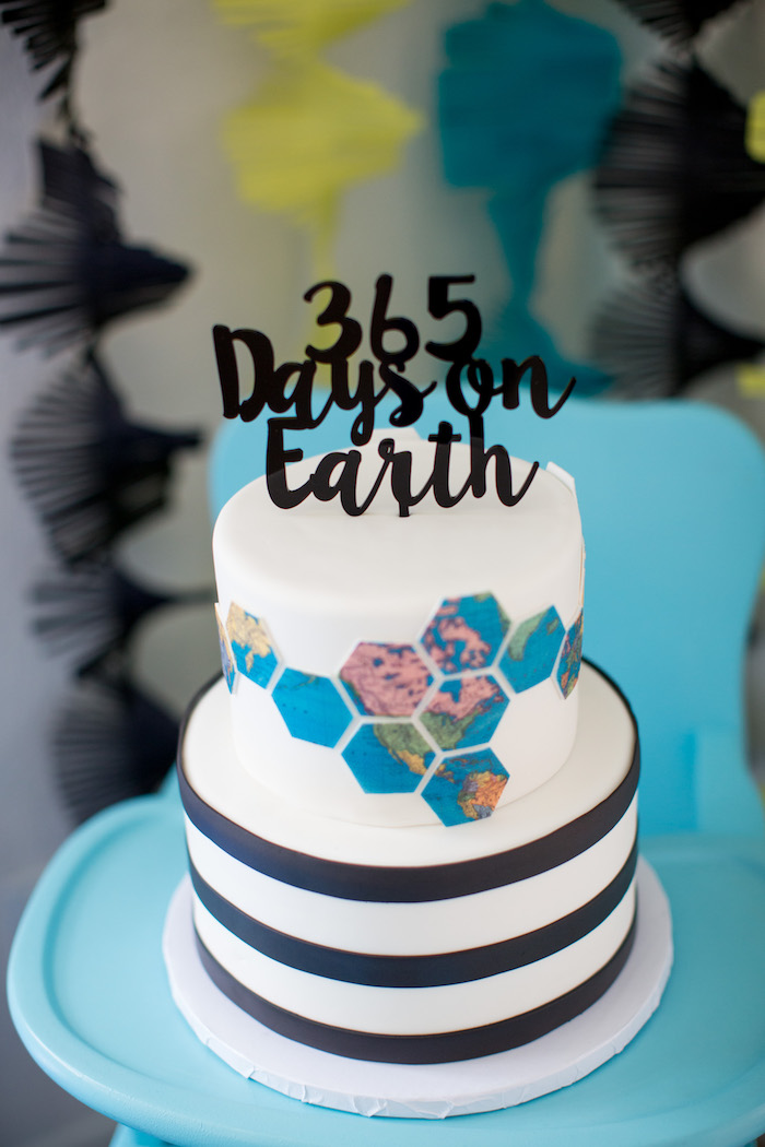Modern Earth Cake from a 365 Days on Earth First Birthday Party on Kara's Party Ideas | KarasPartyIdeas.com (28)