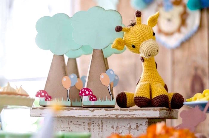Crocheted giraffe with tree box favors from an Adventurous Animal Birthday Party on Kara's Party Ideas | KarasPartyIdeas.com (17)