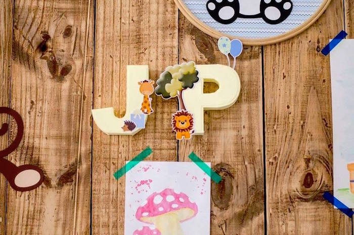Animal decorated letters/initials from an Adventurous Animal Birthday Party on Kara's Party Ideas | KarasPartyIdeas.com (15)
