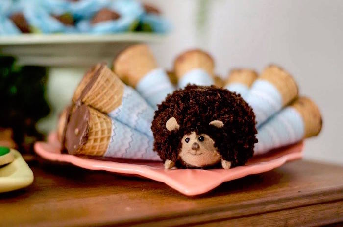 Porcupine pom with sugar cone spikes from an Adventurous Animal Birthday Party on Kara's Party Ideas | KarasPartyIdeas.com (13)