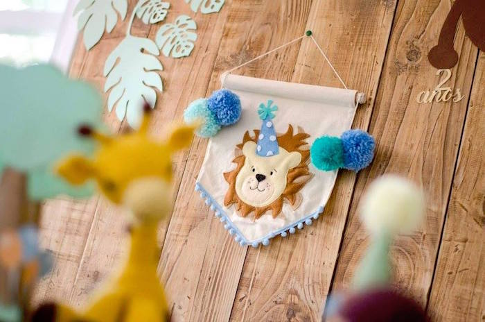 Lion flag from an Adventurous Animal Birthday Party on Kara's Party Ideas | KarasPartyIdeas.com (7)
