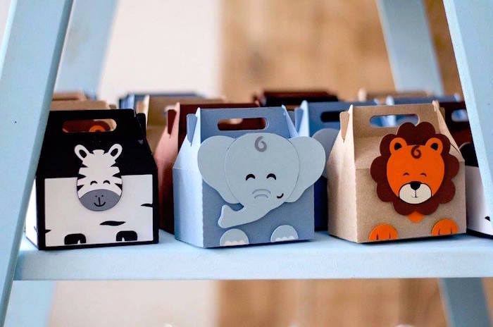 Animal gable boxes from an Adventurous Animal Birthday Party on Kara's Party Ideas | KarasPartyIdeas.com (28)