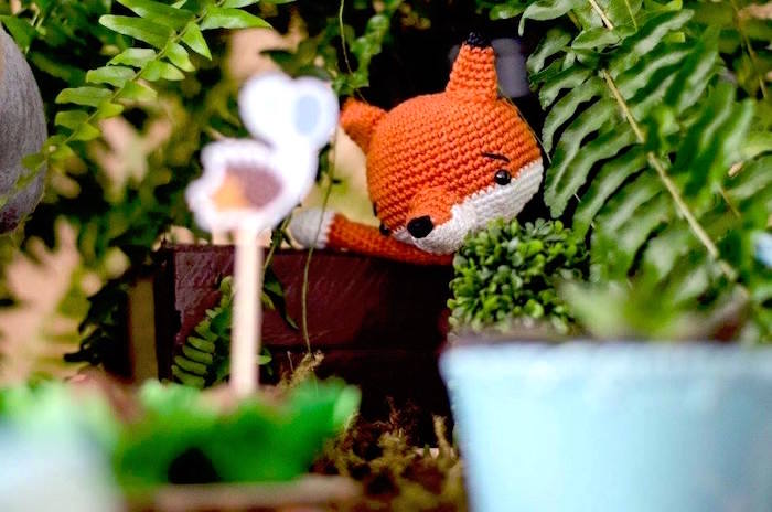 Crocheted fox from an Adventurous Animal Birthday Party on Kara's Party Ideas | KarasPartyIdeas.com (27)