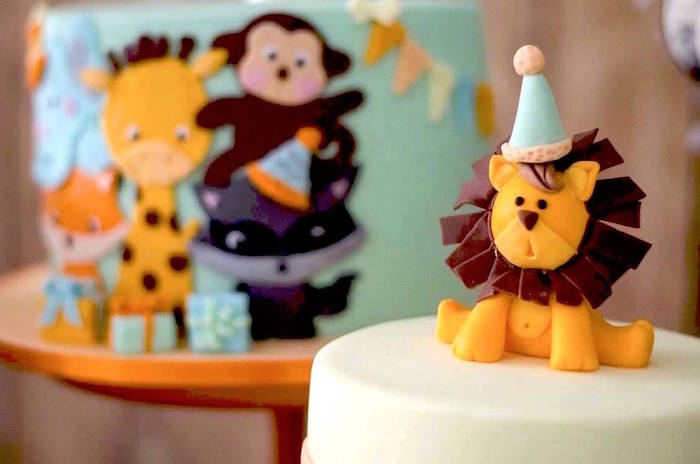 Lion cake topper from an Adventurous Animal Birthday Party on Kara's Party Ideas | KarasPartyIdeas.com (23)