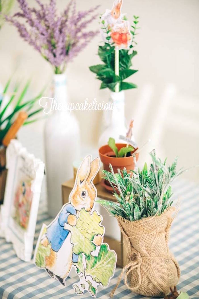 Peter Rabbit garden centerpieces from a Beatrix Potter Peter Rabbit Birthday Party on Kara's Party Ideas | KarasPartyIdeas.com (23)
