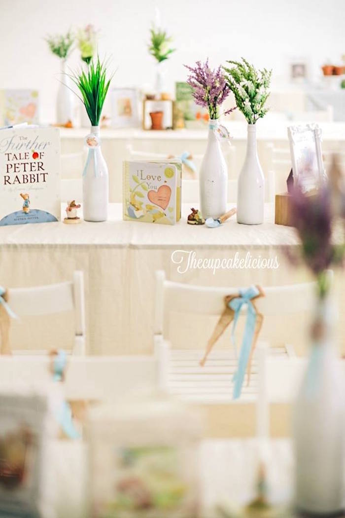 Guest table from a Beatrix Potter Peter Rabbit Birthday Party on Kara's Party Ideas | KarasPartyIdeas.com (20)