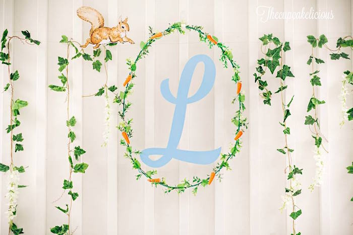 Backdrop from a Beatrix Potter Peter Rabbit Birthday Party on Kara's Party Ideas | KarasPartyIdeas.com (19)