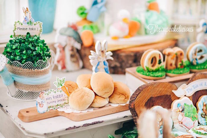 Snack table from a Beatrix Potter Peter Rabbit Birthday Party on Kara's Party Ideas | KarasPartyIdeas.com (16)
