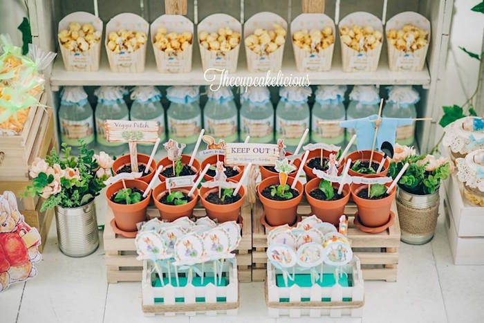 Mr. McGregor's Planted Pot favors from a Beatrix Potter Peter Rabbit Birthday Party on Kara's Party Ideas | KarasPartyIdeas.com (15)