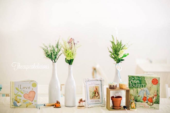 Garden vases & decor from a Beatrix Potter Peter Rabbit Birthday Party on Kara's Party Ideas | KarasPartyIdeas.com (7)