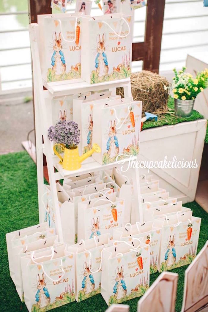 Peter Rabbit favor bags from a Beatrix Potter Peter Rabbit Birthday Party on Kara's Party Ideas | KarasPartyIdeas.com (30)