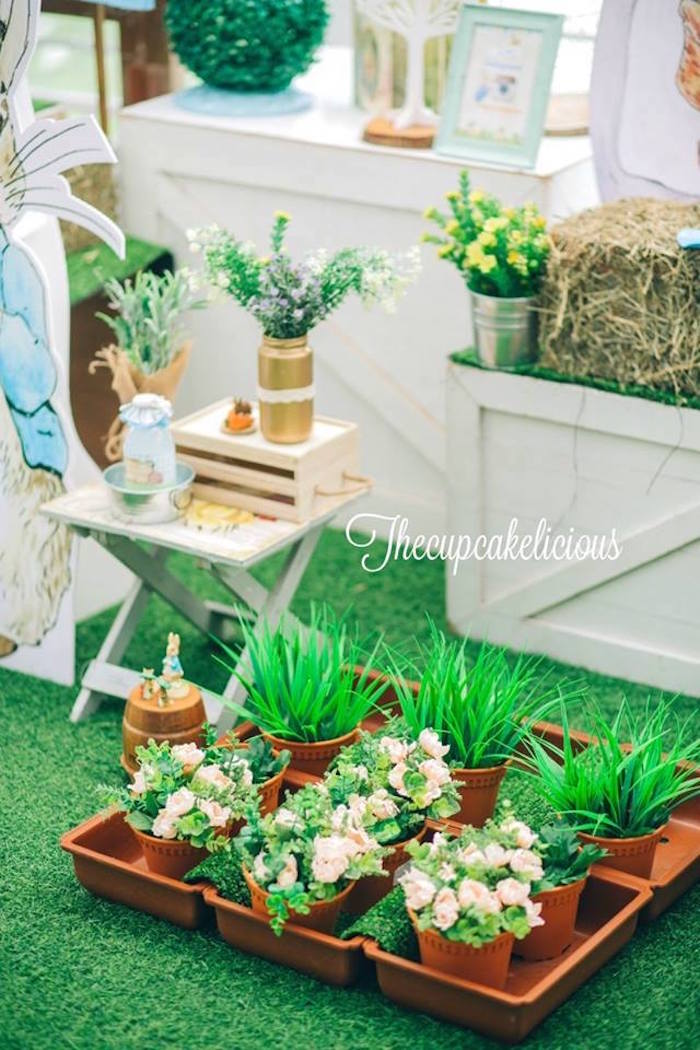 Garden decor + favors from a Beatrix Potter Peter Rabbit Birthday Party on Kara's Party Ideas | KarasPartyIdeas.com (26)