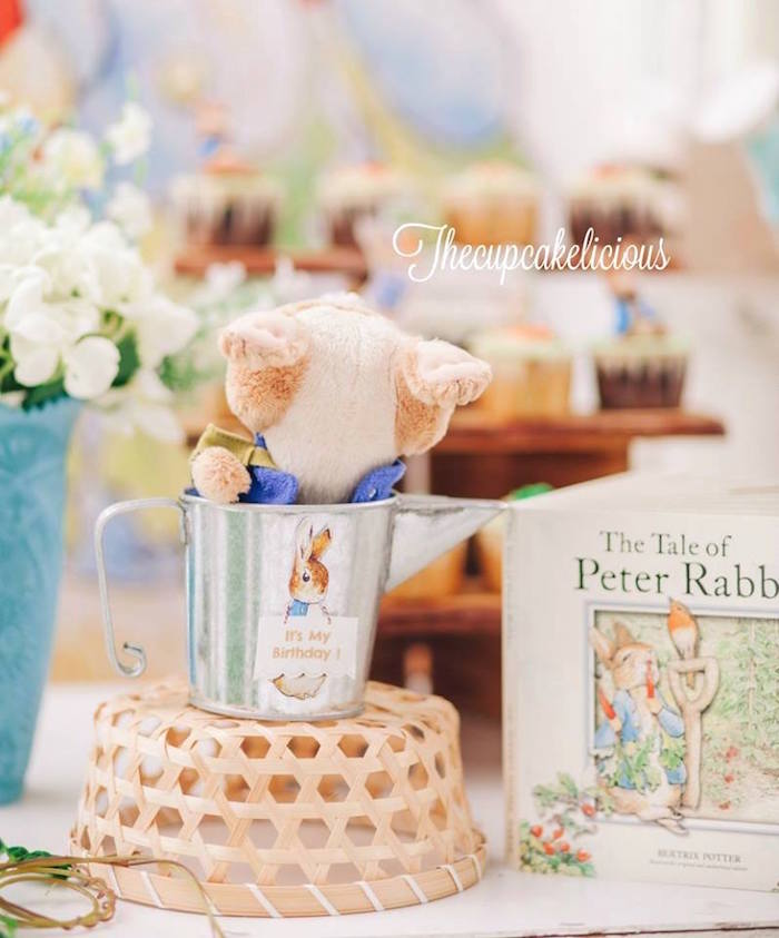 Peter Rabbit centerpieces from a Beatrix Potter Peter Rabbit Birthday Party on Kara's Party Ideas | KarasPartyIdeas.com (24)