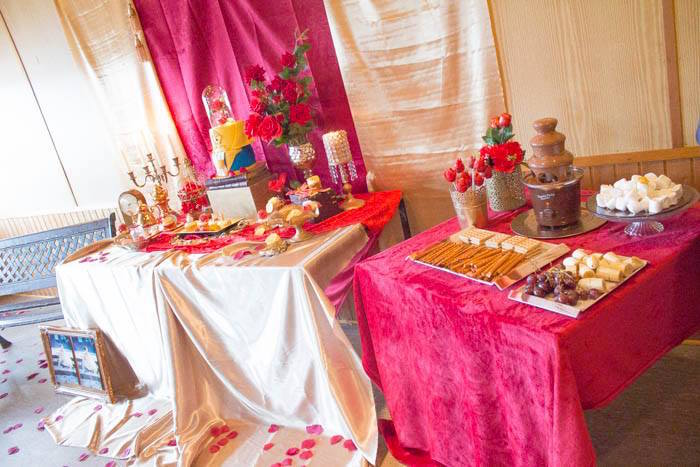 Dessert spread from a Beauty and the Beast 1st Birthday Party on Kara's Party Ideas | KarasPartyIdeas.com (10)